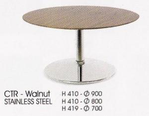 Meja  Bulat Indachi CTR-Walnut Stainless Steel
